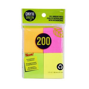 """Onyx & Green Sticky Notes, 1.5""""X2"""", Neon Colors, 200 Recycled Paper Notes, Eco Friendly - 4 Pack (5403)"""