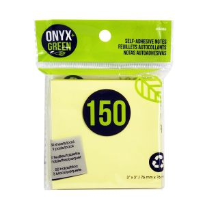 """Onyx & Green Sticky Notes, 3""""X3"""", Yellow, 150 Recycled Paper Notes, Eco Friendly - 3 Pack (5406)"""