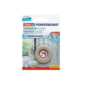 Tesa Powerbond Transparent Double Sided Adhesive Tape, 1.5 m x 19 mm