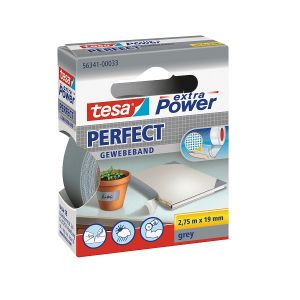 Tesa Extra Power Perfect Strong Cloth Tape, 2.75m x 19mm, Grey