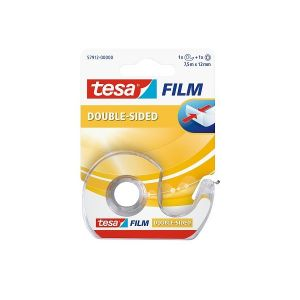 Tesa film Clear Double Sided Adhesive Tape for Arts and Crafts with Dispenser, 7.5m x 12mm