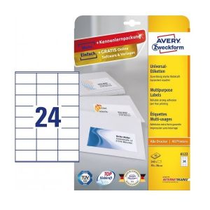 Avery Multipurpose Labels in A4 Sheet with ultragrip, 240 Labels per 10 Page, 70 x 36 mm