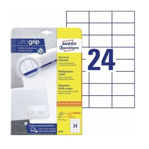 Avery Multipurpose Labels in A4 Sheet with ultragrip, 600 + 120 extra Labels per 30 Page, 70 x 37 mm