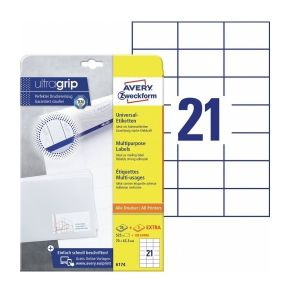 Avery Multipurpose Labels in A4 Sheet with ultragrip, 525 + 105extra Labels per 30 Page