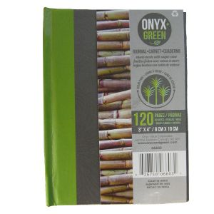 """Onyx & Green Pocket Hard Cover Journal Notebook, 3""""X4"""", 64 Sheets Of Sugar Cane Paper, Ruled (6603)"""