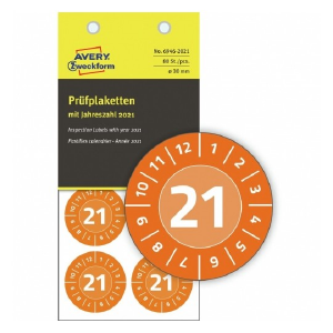 Avery Inspection Plates 2021 , 80 Labels Per 10 Pages, NoPeel inspection plates