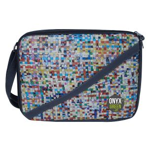 """Onyx & Green Laptop Bag, 15"""", Made Of Recycled Newspaper And Ramie/Jute Fabric, Eco Friendly (7300)"""