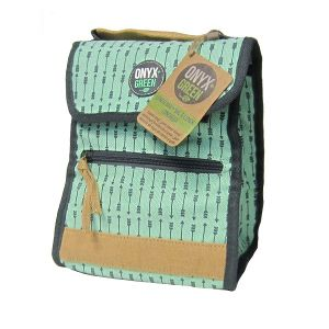 Onyx & Green Lunch Bag, Foldable And Insulated, Made Of Ramie Leaf And Cotton Fabric (7500)