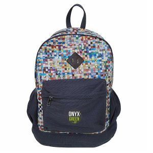 Onyx & Green School Bag, Made Of Recycled Newspaper And Ramie/Jute Fabric (7902)