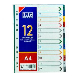 IBC Index Divider 1 to 12 Color, A4 (IBC-US-0112C)