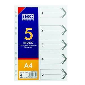 IBC Index Divider 1 to 5, A4 (IBC-US-005G)