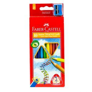 Faber Castell-Junior Triangular Color Pencil 10 (Long)