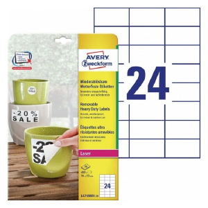 Avery Heavy Duty Labels , 480 Labels Per 20 Pages