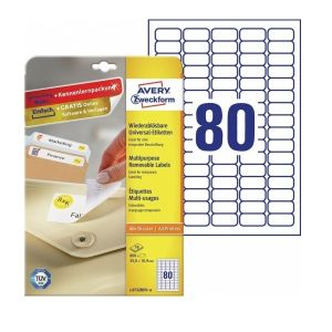 Avery Multipurpose  Removable Labels in A4 Sheet, 800 Labels per 10 Sheets
