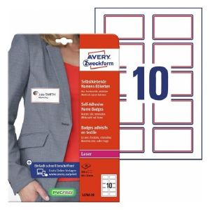 Avery Name Badges, White-Red 200 Labels Per 20 Pages