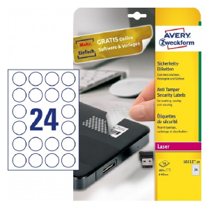 Avery Tamper Proof Labels , 480 Labels Per 20 Pages