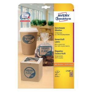 Avery Brown Kraft Labels, 300 Labels Per 25 Pages