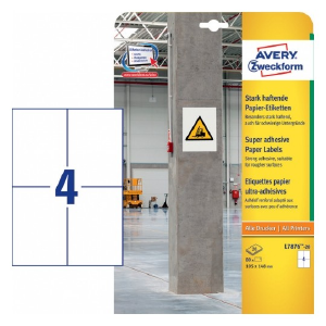 Avery Highly Adhesive Paper Labels , 80 Labels Per 20 Pages