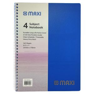"""Maxi - 160 Sheets Spiral 4 Subjects Notebook 9.5"""" x 7"""